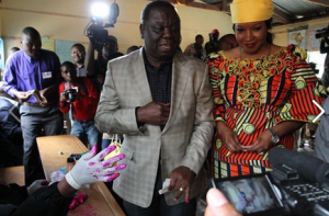 Morgan Tsvangirai and wife voting