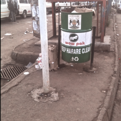 City refuse bins at the bus terminus